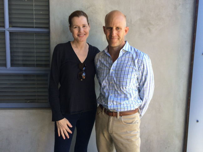 Geena Davis and The Frame host John Horn pose at NPR West after their interview.