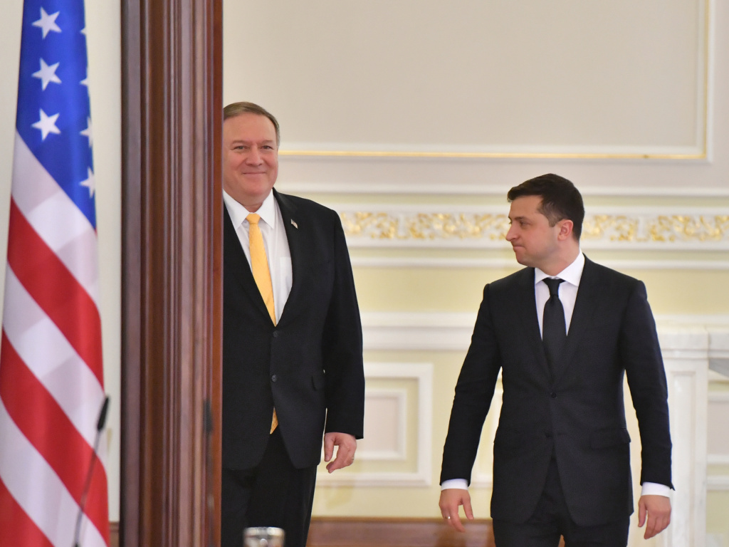 Secretary of State Mike Pompeo (left) and Ukrainian President Volodymyr Zelenskiy arrive for a joint news conference in Kyiv, Ukraine, on Jan. 31.
