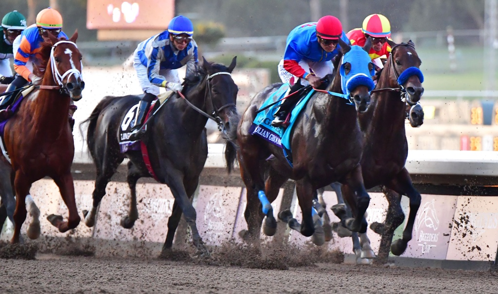 Jockey Abel Cedilo rides Mongolian Groom (2/R/) ahead of Joel Rosario riding Mckinzie (R), Jose Ortiz on Elate (2/L) and eventual winner Irad Ortiz Jr. riding Vino Rosso (L) in the Breeders Cup Classic race at the 2019 Breeders Cup at the Santa Anita Racetrack in Arcadia, California on November 2, 2019.