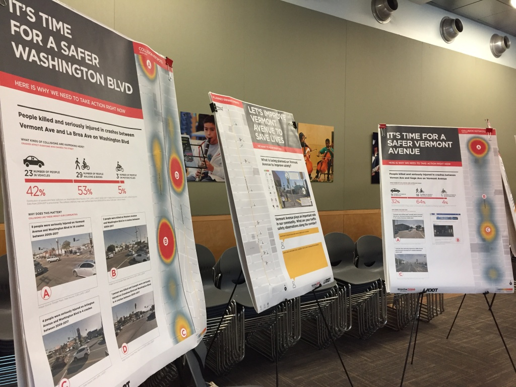 Vision Zero posters show heat maps where accidents most occur on South L.A. streets. Designs for safety improvements are also displayed.