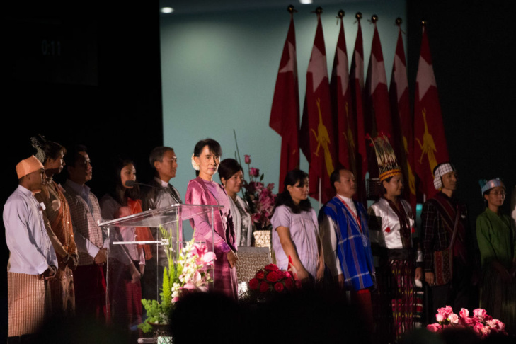 Myanmar opposition leader Aung San Suu Kyi prepared to speak to thousands of Burmese expatriates and refugees at the Los Angeles Convention Center on Tuesday, October 2.
