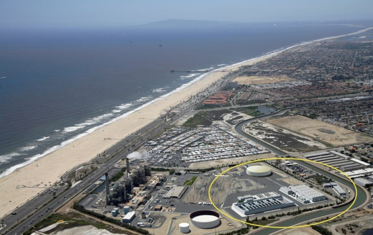 An artist rendering shows the location of a proposed desalination plant in Huntington Beach.