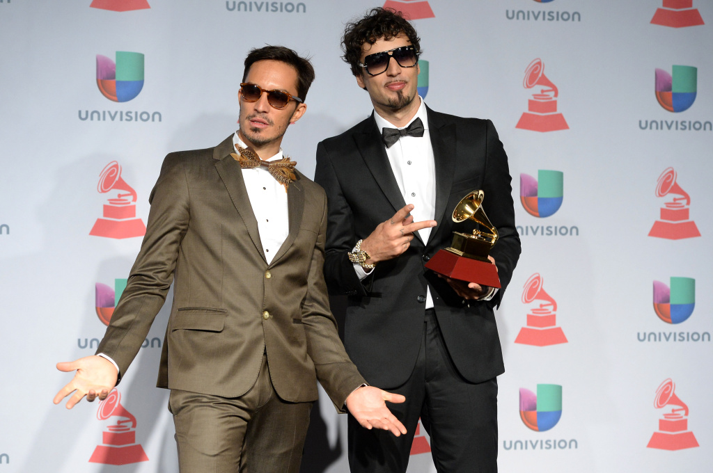 Recording artists Emmanuel Horvilleur (L) and Dante Spinetta of Illya Kuryaki and the Valderramas pose in the press room at the 14th Annual Latin GRAMMY Awards held at the Mandalay Bay Events Center on November 21, 2013 in Las Vegas, Nevada.