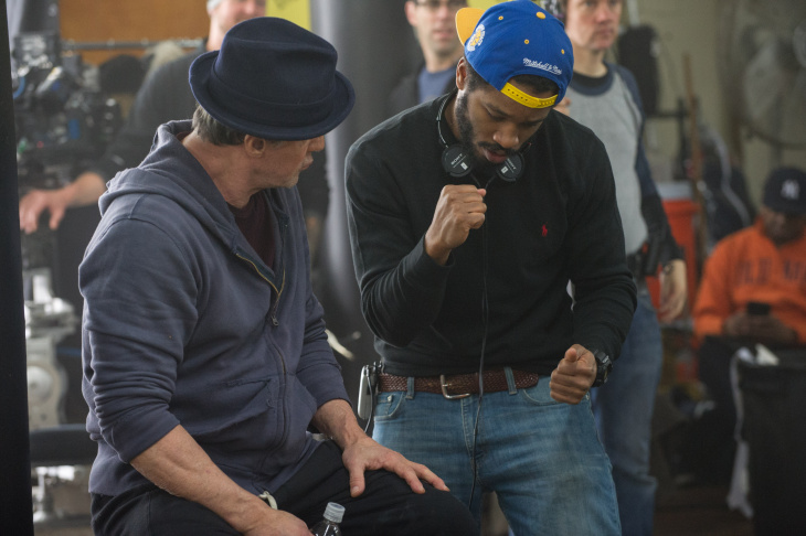 Sylvester Stallone, left, and director/co-writer Ryan Coogler on the set of