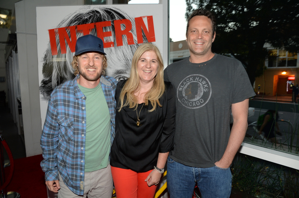 (L-R) Actor Owen Wilson, Lorraine Twohill, VP Marketing, Google, and actor Vince Vaughn are seen at