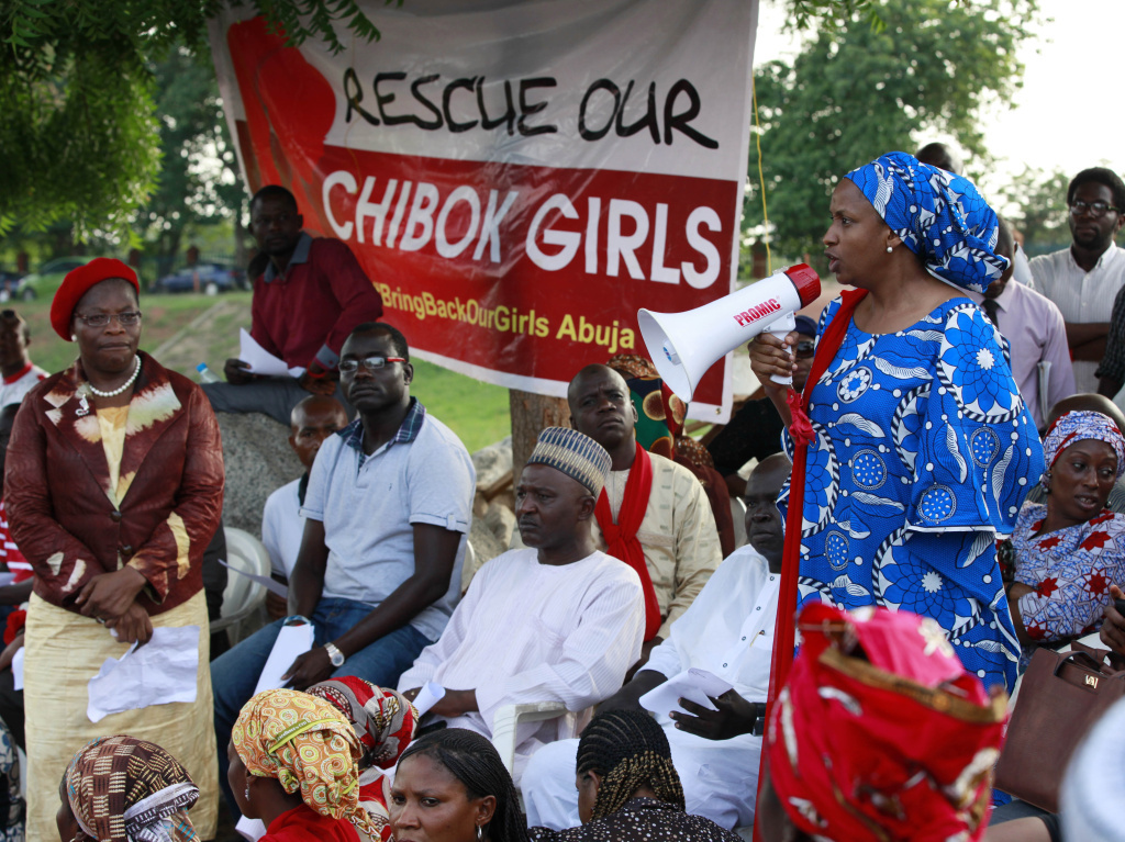 A woman makes a speech during a rally earlier this week in Chibok calling on the government to rescue the kidnapped schoolgirls.