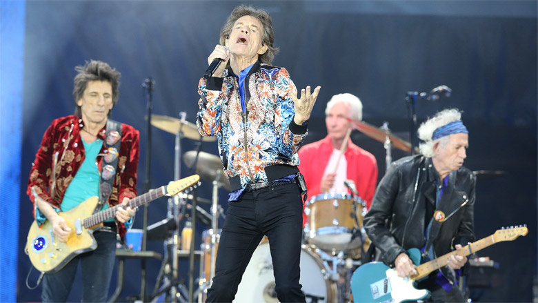 The Rolling Stones on stage in Manchester