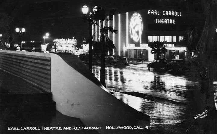 The Earl Carroll Theatre circa 1938, featuring the iconic neon sign bearing the image of Carroll's partner, Beryl Wallace.