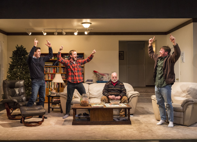 """L-R: Gary Wilmes, Frank Boyd, Richard Riehle and Brian Slaten in """"Straight White Men,"""" written and directed by Young Jean Lee."""