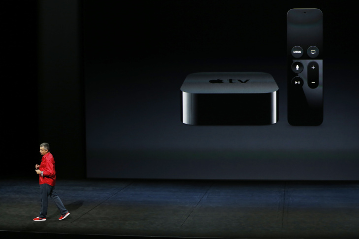 Apple Senior Vice President of Internet Software and Services Eddy Cue speaks about the new Apple TV on stage.