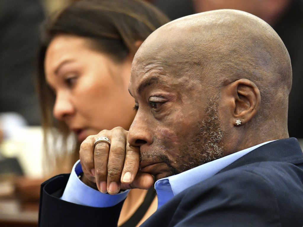 Plaintiff Dewayne Johnson, shown on July 9, listening to his attorney speak about his condition during the Monsanto trial in San Francisco. On Friday, a jury awarded Johnson $289 million in damages after ruling that Monsanto intentionally concealed the health risks of its popular Roundup products.