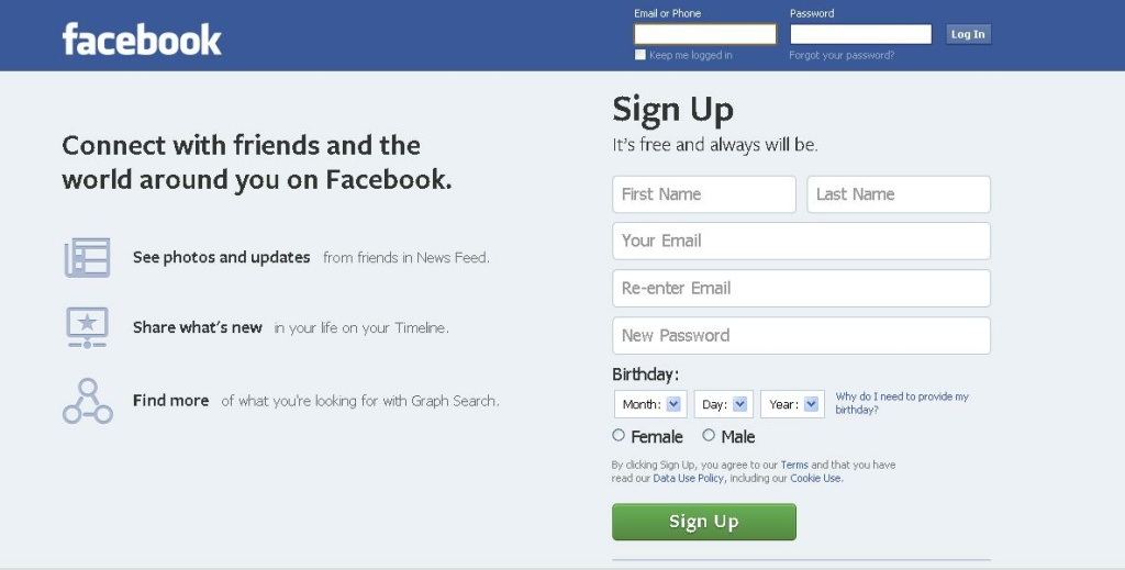 A screenshot of the Facebook homepage.
