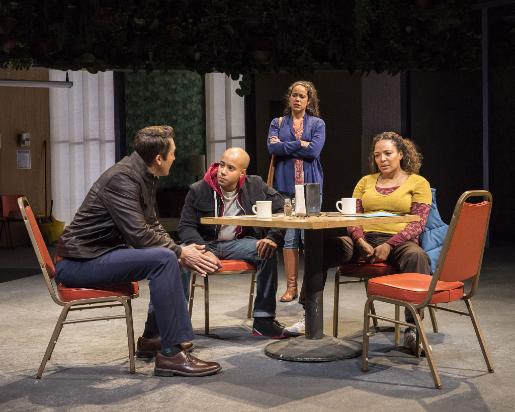 "L-R: Josh Braaten, Sean Carvajal, Keren Lugo and Luna Lauren Vélez in the Center Theatre Group production of ""Water by the Spoonful"" at the Mark Taper Forum."