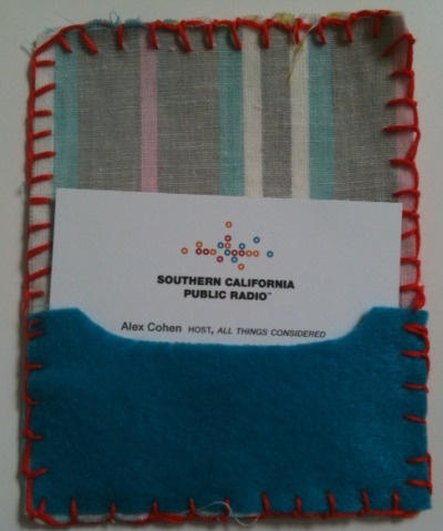 Cardholder sewn by KPCC's Alex Cohen.