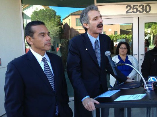 CIty Attorney candidate Mike Feuer (right) accepted the endorsement of Los Angeles Mayor Antonio Villaraigosa.