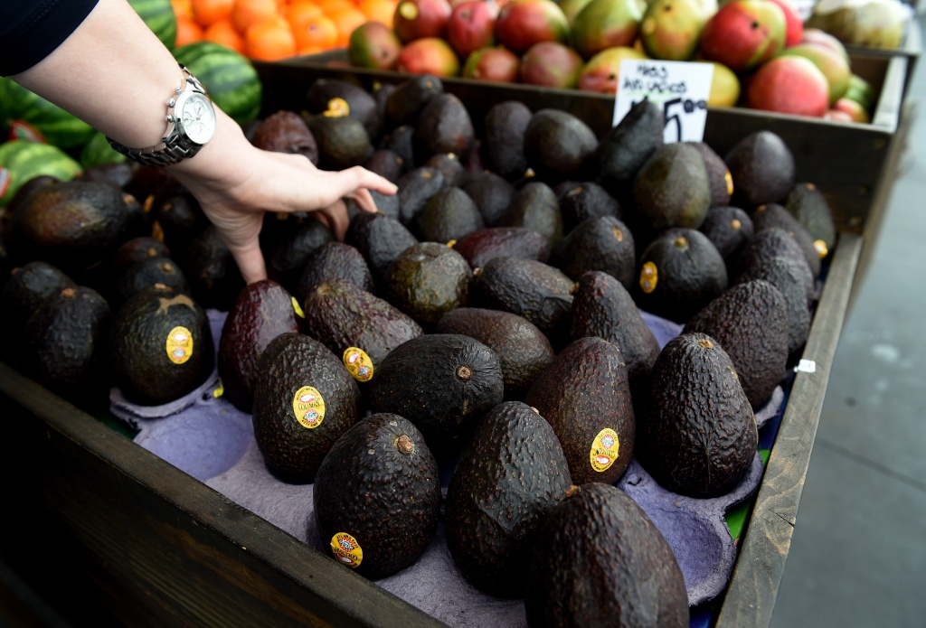 Hass avocados for sale at the Farmers Market in Los Angeles, California on January 22, 2015.  The avocado has become the United States new favorite fruit with more than 4.25 billion sold last year.