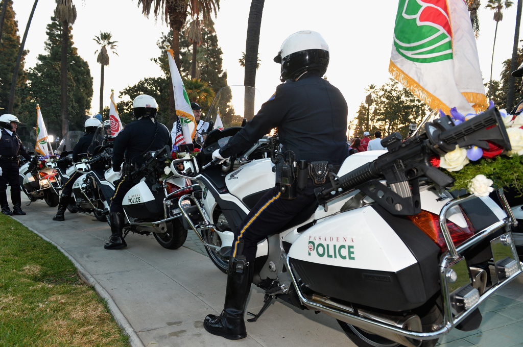 City of Pasadena Police Officers attend the 125th Tournament of Roses Parade Presented by Honda on January 1, 2014 in Pasadena, California.