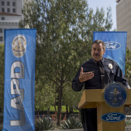 LAPD Chief Charlie Beck speaks at the unveiling of two new Ford Fusion hybrid pursuit-rated Police Responder cars at Los Angeles Police Department headquarters on April 10, 2017 in Los Angeles, California.