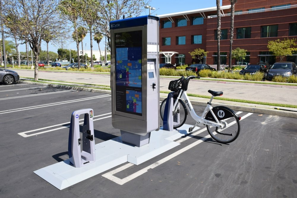 FILE: Early model of the L.A. Metro's bike share docking station.