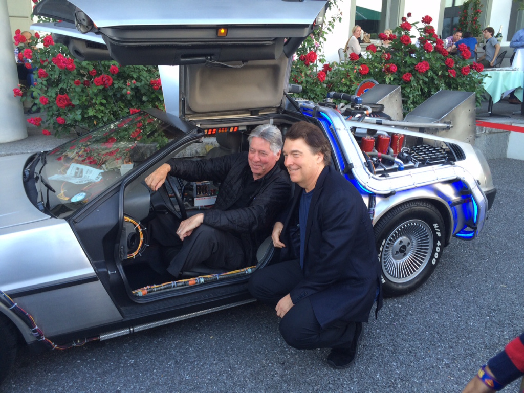 Alan Silvestri (left) poses with David Newman in the DeLorean