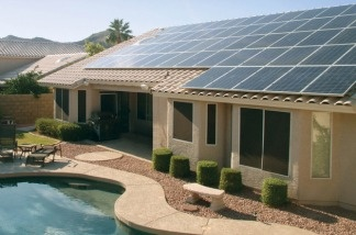 A house in Phoenix outfitted with the solar panels that SolarCity leases to its customers.