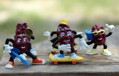 The California Raisins band that promoted raisins in the 1980s. A live version of the band is now touring South Korea to promote raisins, which are primed to do well under the new US-Korea Trade Agreement.