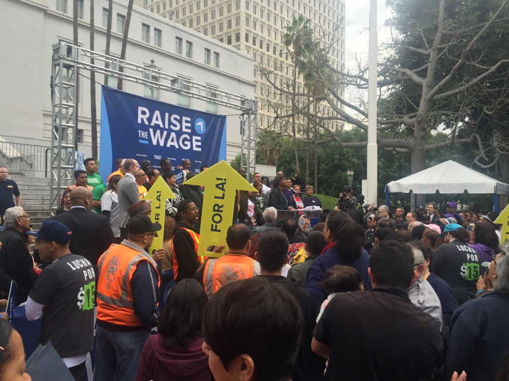 Supporters of raising the minimum wage in Los Angeles rally outside L.A. City Hall in January of 2015