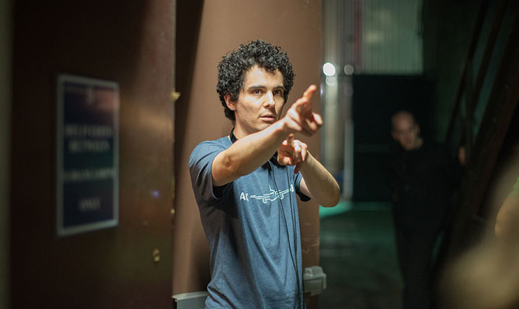 Director Damien Chazelle on the set of
