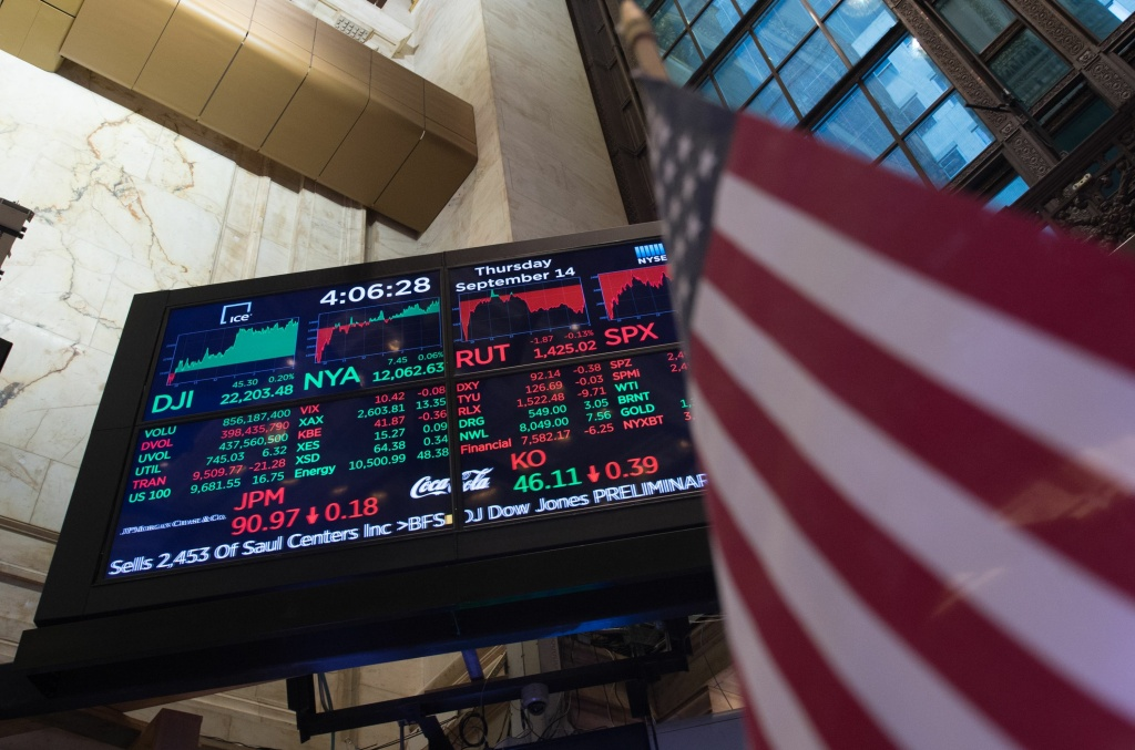 A video board display's the day's closing numbers on the floor after the closing bell of the Dow Industrial Average at the New York Stock Exchange on September 14, 2017 in New York.