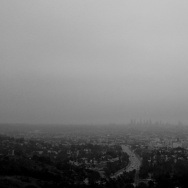 Los Angeles skyline in morning fog
