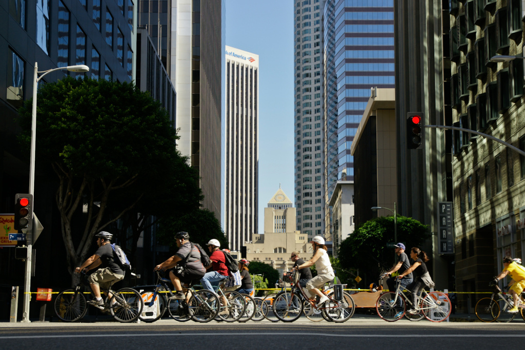 Cyclists whir through downtown at the October 9, 2011 CicLAvia event.