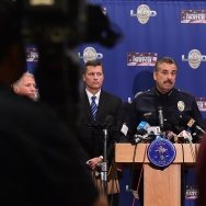 LAPD Chief Charlie Beck addresses the media at Police Headquarters in Los Angeles, California on October 20, 2014.