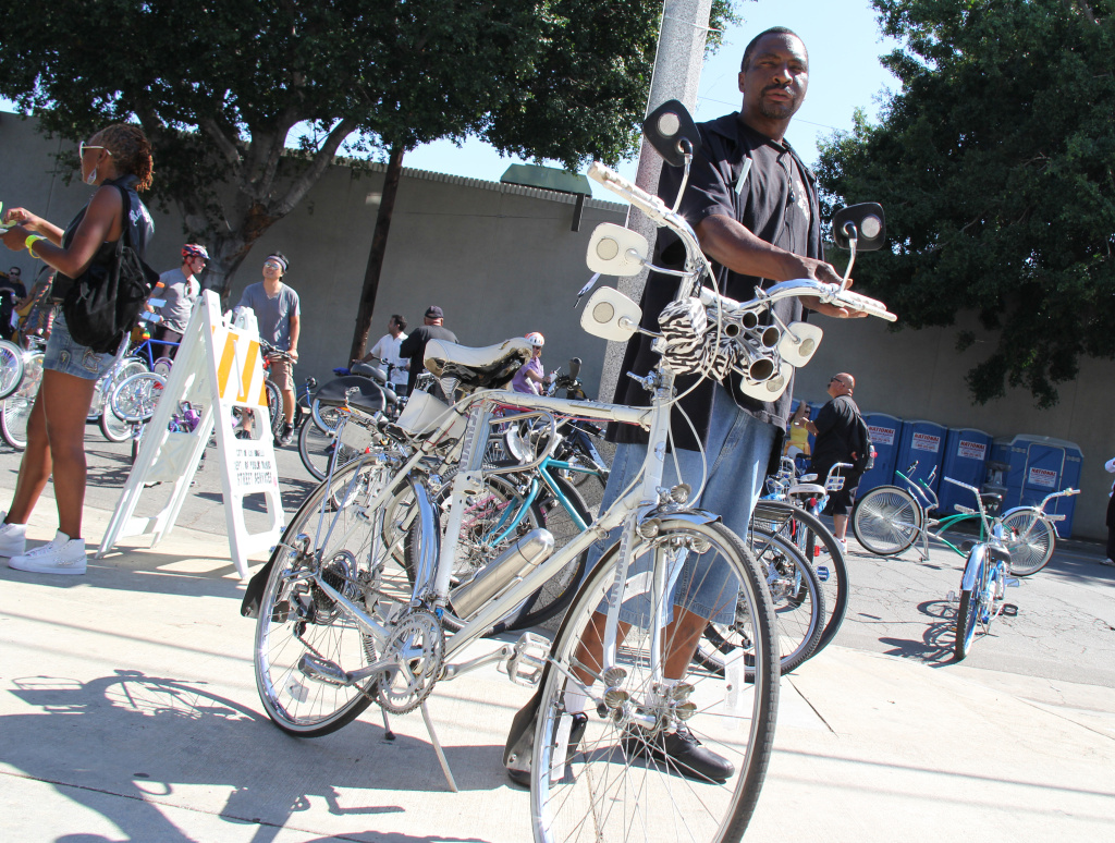 "File: ""Detail"" Ron, the roll captain of L.A.'s Real Rydaz low rider bike club outside the African American Firefighter Museum, one of the end points of L.A.'s third CicLAvia event on October 9, 2011."