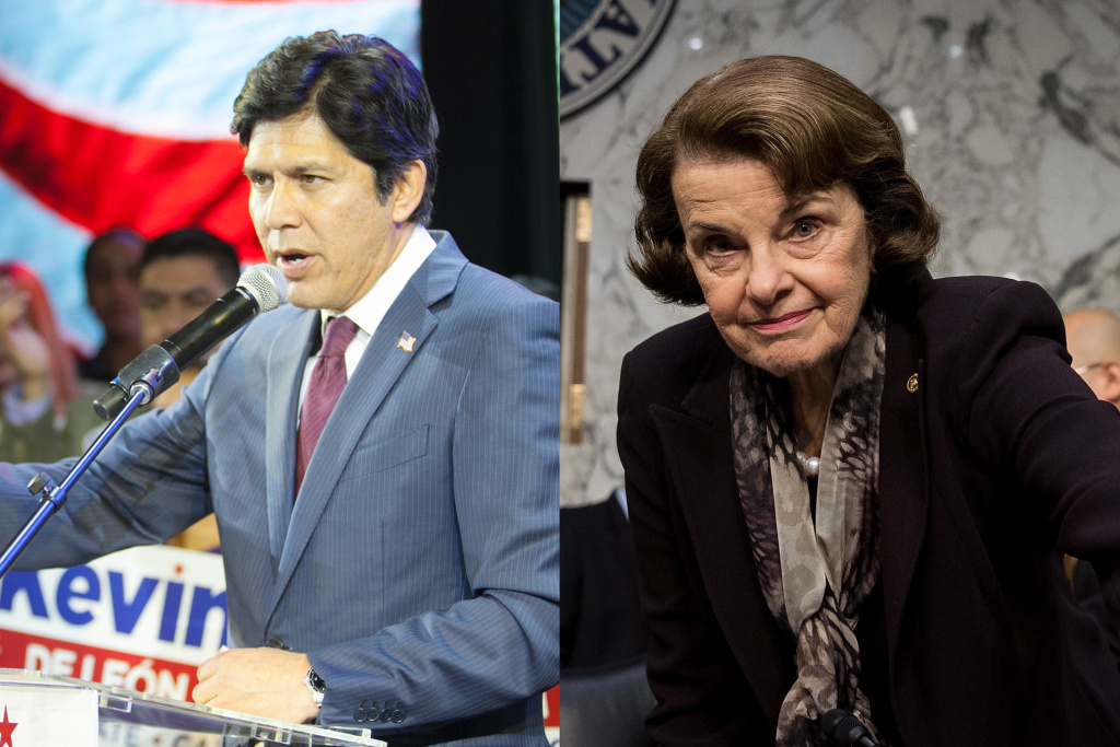 Senate candidates Kevin de Léon and Dianne Feinstein.