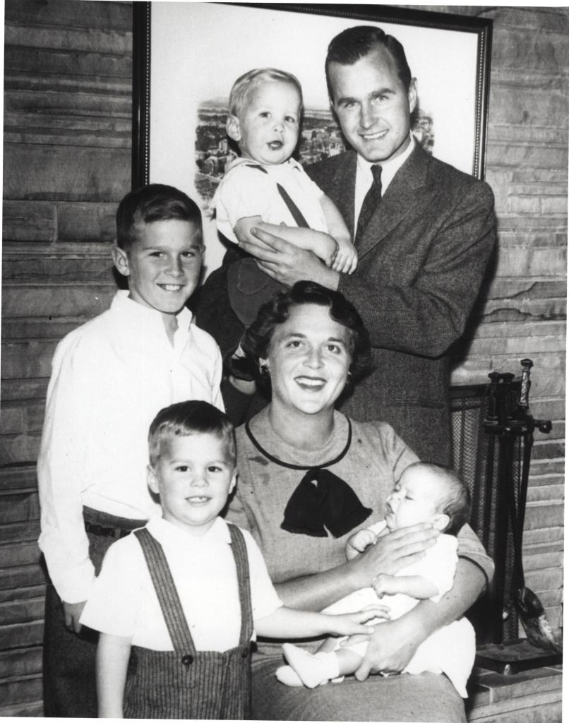 Barbara Bush and George Bush pose with children Neil Bush, George W. Bush, Jeb Bush and Marvin Bush in 1956.
