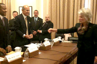 Democratic Congresswoman Jane Harman of El Segundo welcomes L.A. County Sheriff Lee Baca to Capitol Hill
