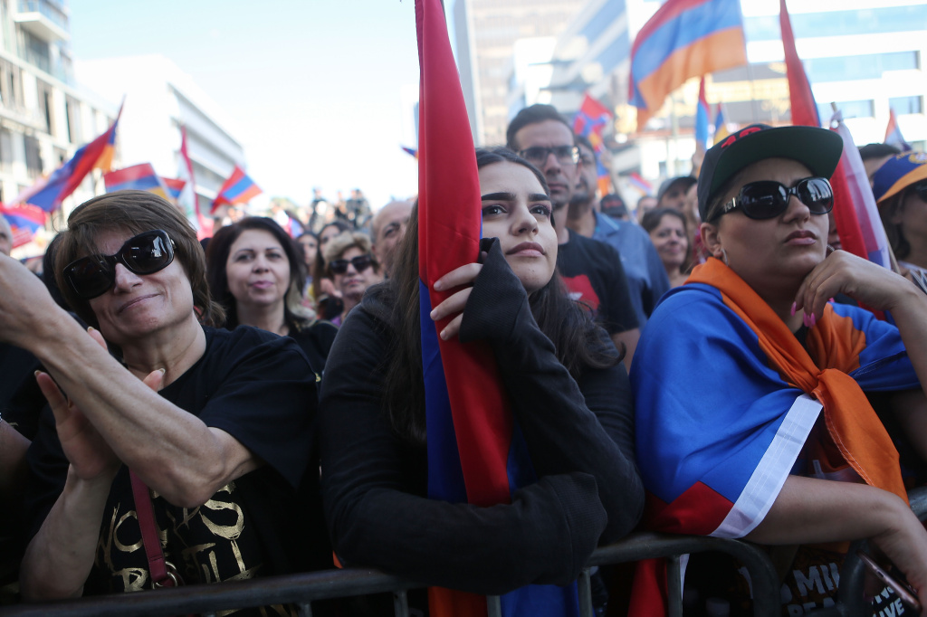(File photo) Demonstrators gather outside the Turkish Consulate during a march and rally commemorating the 103rd anniversary of the Armenian genocide on April 24, 2018 in Los Angeles.