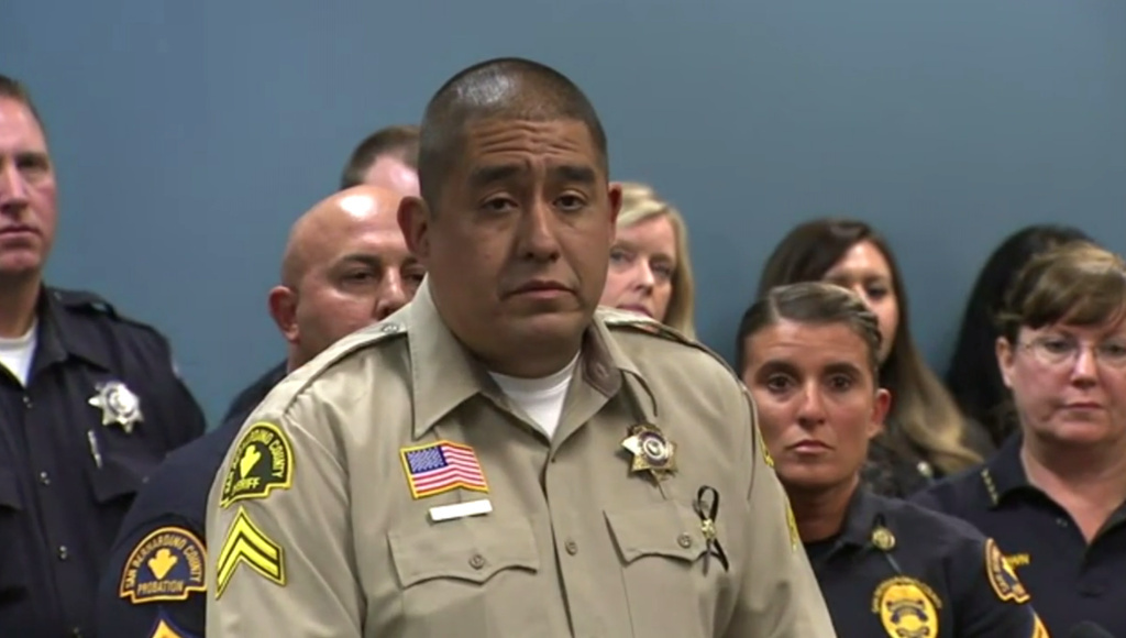 Some of the first responders to the scene of last week's mass shooting in San Bernardino spoke about the experience Tuesday at the San Bernardino Police Department. Among them was Jorge Lozano, whose words of comfort to a woman and small child were caught on cellphone video.