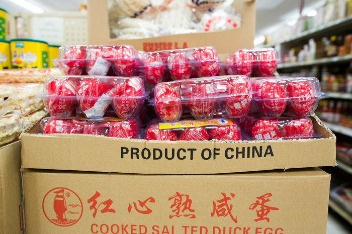 Duck eggs from China for sale at the Bangkok Market. Chef Louis Tikaram said he