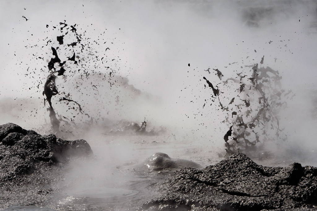 Mud boils violently in steam vents that, until recently, were underwater on the floor of the Salton Sea, on June 30 near Calipatria, California. Scientists have discovered that human-created changes effecting the Salton Sea appear to be the reason why California's massive