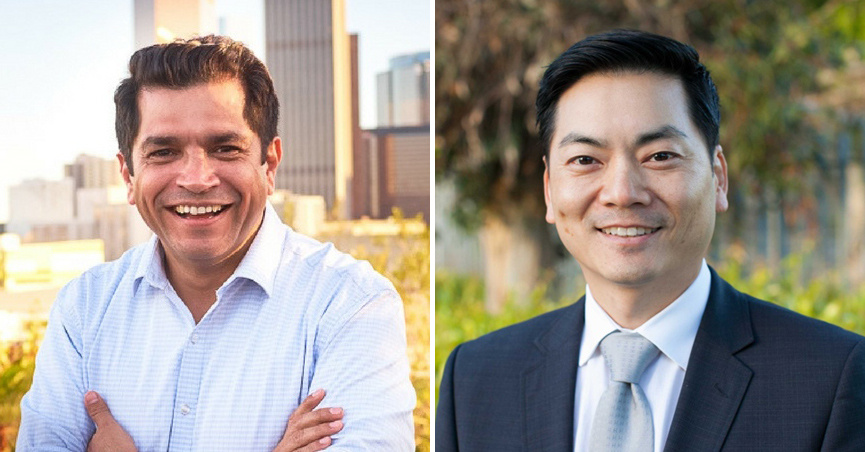 Democrats Jimmy Gomez, left, and Robert Ahn, right, were the clear front-runners following the special election for the 34th Congressional District on April 4.