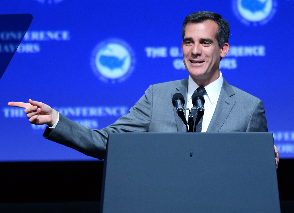 Los Angeles Mayor Eric Garcetti speaks at the 81st annual U.S. Conference of Mayors at the Mandalay Bay Convention Center on June 21, 2013 in Las Vegas, Nevada. Yesterday, Garcetti announced that Los Angeles will no longer hold inmates longer than their jail time despite detention requests.