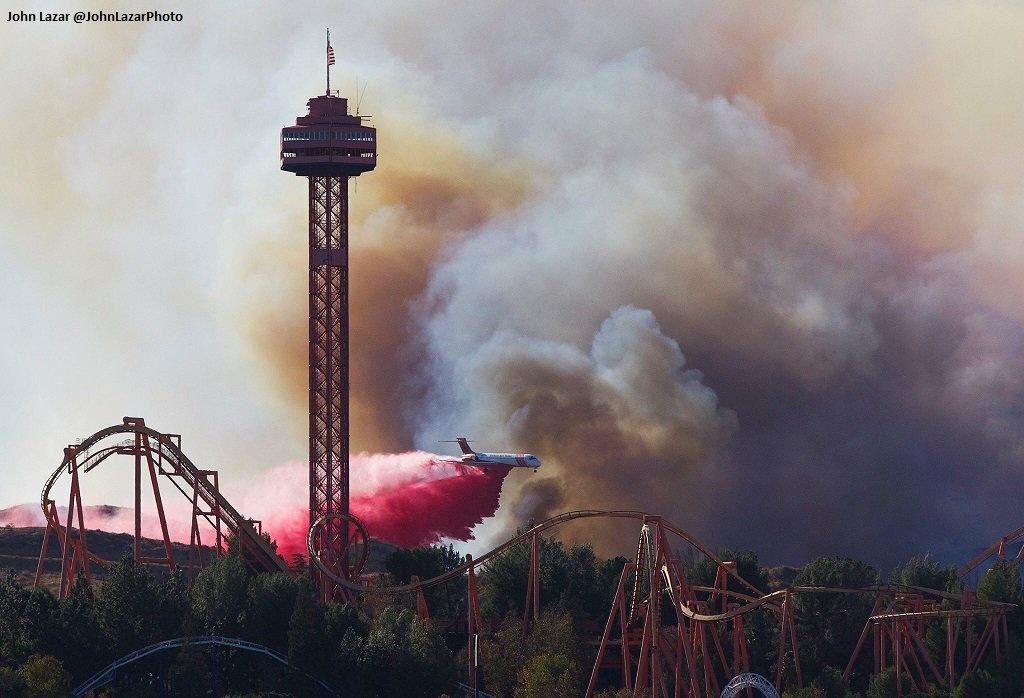 Firefighters drop fire retardant on the Rye Fire in Santa Clarita.