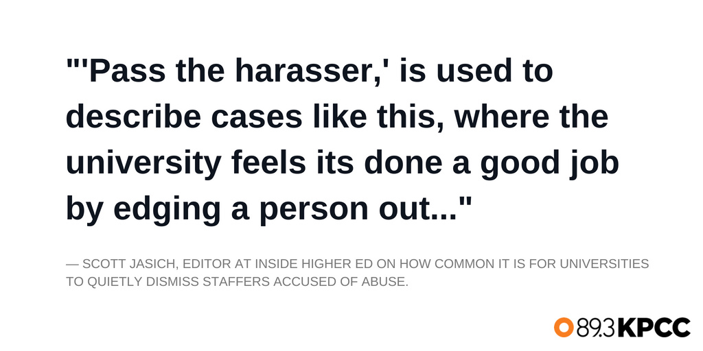 Scott Jasich, Editor at Inside Higher Ed on how common it is for universities to quietly dismiss staffers accused of abuse.