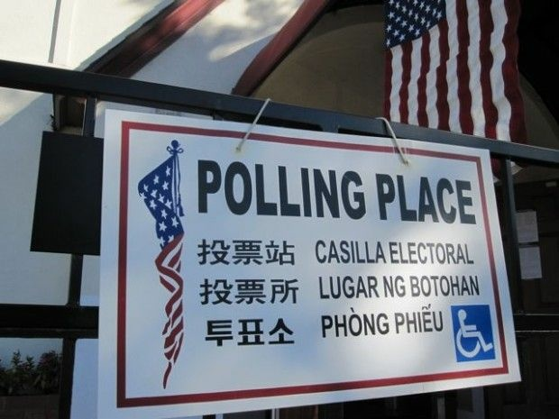 A sign outside a polling place in Bell, Calif. November 2, 2010