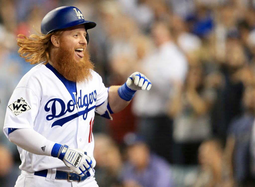 Justin Turner of the Los Angeles Dodgers celebrates after hitting a two-run home run during the sixth inning against the Houston Astros in game one of the 2017 World Series at Dodger Stadium on Oct. 24, 2017.