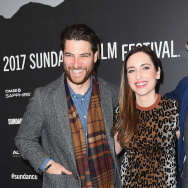 """Adam Pally, director Zoe Lister-Jones and Fred Armisen attend the """"Band Aid"""" premiere at the 2017 Sundance Film Festival."""