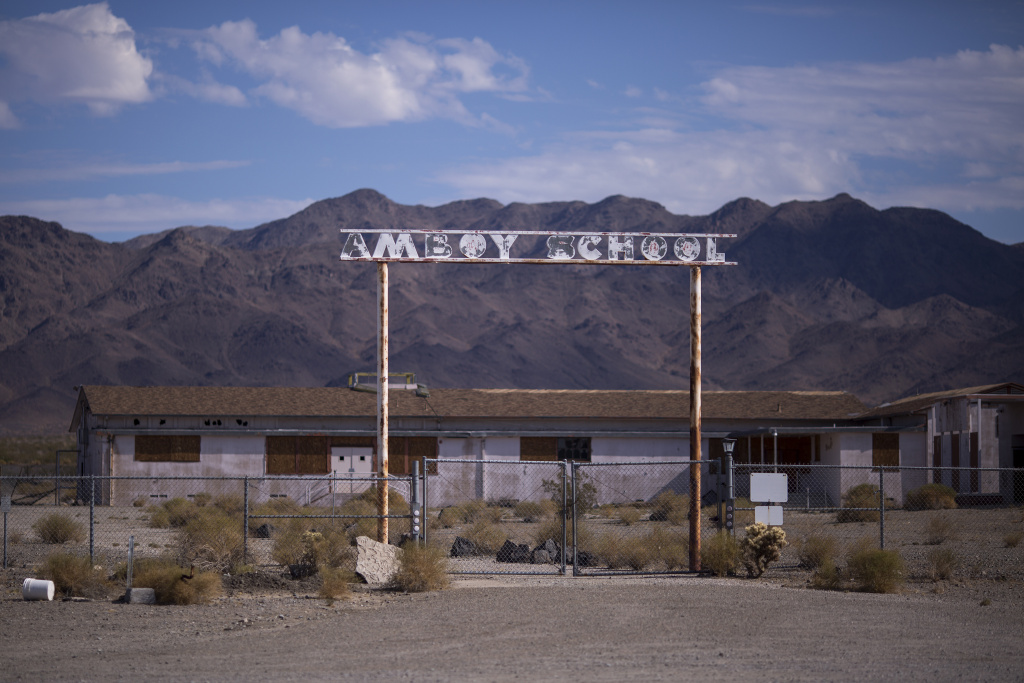 The ruins of Amboy School are seen in Amboy along historic Route 66 at Mojave Trails National Monument on August 27, 2017 near Essex, California.