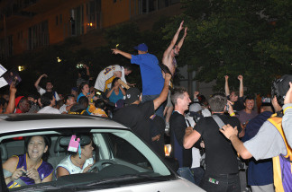 Laker fans rally on 9th Street in Downtown Los Angeles after a Laker victory in game 7 of the NBA Finals on June 17, 2010.