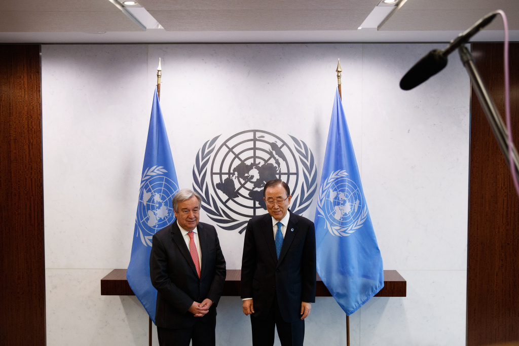 (L to R) Newly-elected United Nations Secretary General-designate Antonio Guterres and outgoing secretary general Ban Ki-moon stand for a photo opportunity.